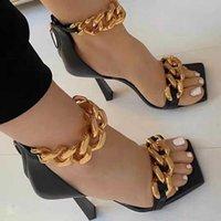 Rimocy cadena de metal tacones altos sandalias mujeres verano sexy tacón tacón tobillo correa zapatos de fiesta mujer moda cuadrada punta bombas mujer 210528