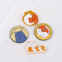 Cartoon Animal Series Cat Brooches Circle Letter Anti-light Buckle Pins Unisex Clothes Cowboy Collar Backpack Badge Jewelry Accessories Wholesale