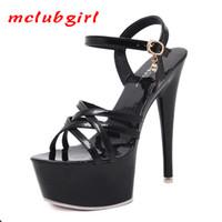 Mcublgirl Women Fashion Beautiful 15cm Super high-heeled shoes Pumps Fish Toe Platform sexy black waterproof sandas LFD 210507