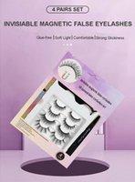 Natural 3D Invisiable Magnetic False Eyelashes 4 Pairs Set Soft Light Handmade Reusable Glue-free Fake Lashes With Magnet Eyeliner Tweezer Makeup For Eyes