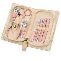 Nail Art Kits 9In1 Clippers Beauty Tool Rose Gold Stainless Steel Manicure Set Acne Needle Suitable For Home Travel Gift