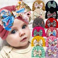 Caps & Hats Cute Lovely Bowknot Kids Baby Hat Cap Flower Printed Turban Soft Elastic Born Toddler Beanies Bonnet Infant