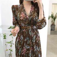 Fleckit Vintage Женщины Цветочное платье с поясом С Длинным Рукавом V Шеи Airy Шифон Женское Платье Осень Весна 2020 * Y0628