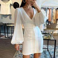 Women 2021 Fashion White Dress Sexy V-neck Long Sleeve Pearl Mini Plus Size Slim Bodycon Pencil Office Lady Casual Dresses