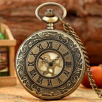 Antique Mens Womens Quartz Analog Pocket Watch Carved Roman Numeral Alloy Case Half Hunter Necklace Chain Xmas Gift
