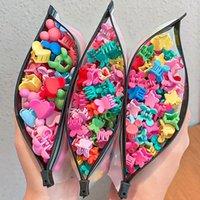 Accessoires de cheveux 50pc / sac coloré petit pince mignon pour filles enfants fleur en plastique mini coiffures enfants