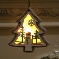 Рождественские Освещенные деревянные кулон Рождественская елка колокольчик подарок звезды дизайн висит кулон С Рождеством Христовое дерево висит орнамент fwe9493