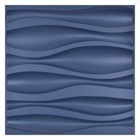Art3D 50x50cm 3d plástico painéis de parede adesivos design de onda insonorizado azul marinho azul para sala de estar quarto de fundo de tv (pacote de 12 telhas 32 sq ft)