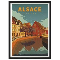 Dipinti Francia Alsazia Paese Vintage Viaggio Poster Poster Canvas Pittura Wall Art Kraft Poster Coated Wallstickers Home Decor Gift