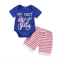 Boys Striped Outfits Infant American 4 July Printed Letter Romper Onesies Kids Lersure Clothes Boys Elastic Shorts Baby Clothes 060506