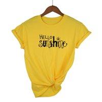 Women's T-Shirt HELLO SUNSHINE TShirt Women Yellow Cotton Christian Tees Plus Size Summer Graphic Nature Shirt Tops