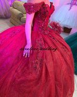 Red Quinceanera Dress Off the Shoulder Lace Applique vestido de 15 anos XV Bridal Boutique Prom Party Wear Princessa Sweet 16 Gowns