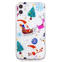 Christmas Style TPU Case for IPhone 13 Pro Max IPhone 12 Pro 12 Mini IPhone 11 ProMax XS Max Xr 8 7 Plus SE 2020 6S Plus Forest and Santa Transparent Case