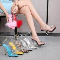 Очистить ПВХ прозрачные сандалии сексуальные лодыжки ремешок пряжки тонкий каблук высокие каблуки Opentoes Женская вечеринка обувь ночной клуб насосы черный красный