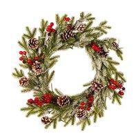 Weihnachtsgirlande PE Kiefer Kegel Rot Obst Kranz Romantische Dekoration Weißer Beflockung Anhänger mit Frost Ornamente Kunst Dekorative Blumen WR