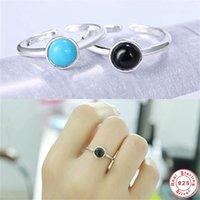 925 Sterling Silver Retro dedo Anéis Mulheres Moda Quente Jóias Presentes Coréia Acessórios Na Moda Pedra Azul Preto 093