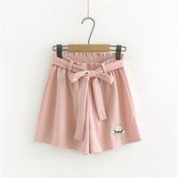 Moda verde kawaii chiffon meninas verão fundos femininos elásticos elásticos femininos cintura alta mulheres cute casual perna larga shorts