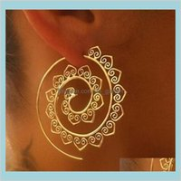 Hie Drop Delivery 2021 Vintage Tribal Indian Spiral Hoop Earrings For Women Charming Fake Ear Piercing Jewelry Gold Sier Ps2529 Dqh6T