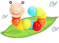 لعبة كاتربيلر خشبية ملونة للأطفال والأطفال الصغار