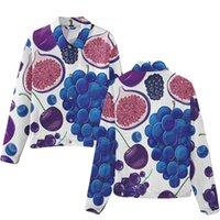 Frutta della ciliegia dell'uva Fotografia 3D Stampa Giacca Denim Cappotto Costume Moda Uomini Donne Manica Lunga Jean-Giacche con cappuccio Streetwear Vestiti Tops Jacke maschile