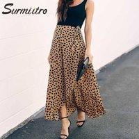 Surmiitro Polka Dot Baskı Uzun Maxi Yaz Etek Kadın Moda Beyaz Siyah Bölünmüş Yüksek Bel Güneş Şal Estetik Kadın 210607