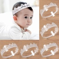 Baby Girls Lace Crown Tiaras Hair Accessories Sweet Cute Hollow Out Headbands For Newborn Girl Soft Elastic Infant Toddler Hairbands Photo P