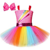 Jojo Siwa Tutu Drwith Hair Bow Rainbow Girls PrincDrTulle Kids Tutu Dresses for Girls Holiday Birthday Party Costume X0509
