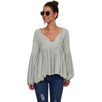 Women Blouse Soft Strappy Tops Ruffle Peplum V Neck Solid Party Puff Sleeve Polyester Ladies Casual Date Women's Blouses & Shirts
