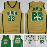 Mens Lebron James St. Vincent Mary High School Irische Trikots Basketball Hemden Lebron James # 23 Genähte Jersey Günstige Hemden S-XXL