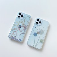 Capas telefônicas transparentes de cor electroplated imd com borboleta de dente-de-leão ou padrão de lótus para iphone 12 12mini 11 pro promax x xs max 7 8 plus
