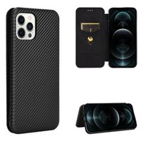 Carbon Fiber Cases For Apple iphone 12 Pro Max 12 Mini Case Magnetic Book Stand Flip Card Protective Wallet PU Leather Cover