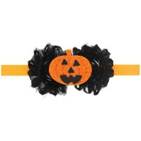 Hair Accessories Top Selling 10pcs Infants Halloween Party Decorate Bands Kids Girls Orange Pumpkin Designer Headbands Bandanas For Child