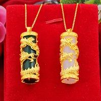 Wholesale Alluvial Gold Pendant Inlaid Hetian Jade Dragon Column White Jade Ancient Gold Ladies Pendant Dragon and Phoenix Pendant