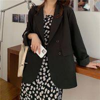 Women's Suits & Blazers Korean Fashion Casual Office Blazer Chic Commute Suit Business OL Jacket 2021 Preppy Style Streetwear Solid Colors J