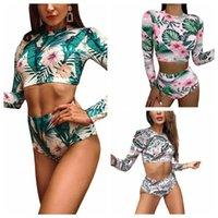 Women's Swimwear 2021 2 Pieces Bathing Suit Set, Female Floral Print Round Neck Long Sleeve Crop Tops+ Bikini Panties For Summer, S M L XL