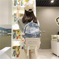Backpack Women For Girl School Bag Waterproof Travel Fashion Female College Bookbag Black Nylon Rucksack Animal Pendant Pink