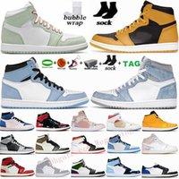 Jumpman 1 العليا ترافيس سكوتس 1S أحذية محظوظ الخضراء الرجال لكرة السلة تطور UNC الظلام موكا دخان رمادي حجر السج إمرأة رياضة حذاء رياضة مدرب