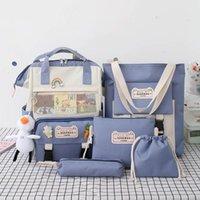 Backpack 2021 5Pcs set Canvas School Backpacks Women Lovely Bags For Teenage Girls Bookbags Students Travel Shoulder Female