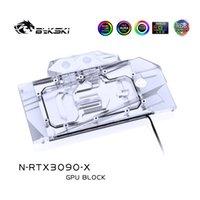 Bykski Bloque de agua Uso para NVIDIA RTX3080 3090 Edición de referencia Tarjeta GPU / Placa posterior de cobre RGB Aura Fans Refrigeraciones