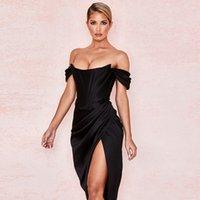 Kriptografik Kapalı Omuz Seksi Straplez Bölünmüş Korse Saten Elbiseler Moda 2021 Bodycon Elbise Kadın Parti Gece Kulübü Zarif