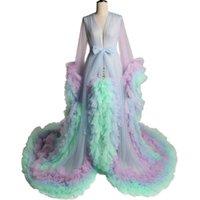 Rainbow Evening Dresses Tiered Skirts Ruffles Maternity Gown for Photoshoot Boudoir Morning Robe Bathrobe Nightwear Custom Made