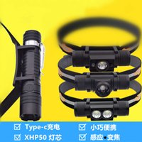 USB charging headlamp, strong light camping, outdoor fishing, riding, inductive focusing, LED rechargeable flashlight