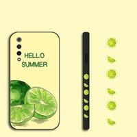 Cas de citron latéral Cas peint pour Xiaomi Mi 9T Pro 8 Lite 8x 9 SE 8 Explorer mi Play Vert Lettre Vert TPU Housse arrière