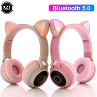 LED Cat Ear Headphones Bluetooth-compatible 5.0 Noise Celling Adults Kids girl Headset TF Card FM Radio Mic Wireless+Wired