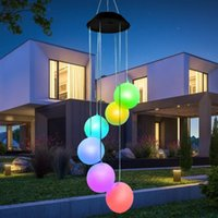 Solar Lamps LED Wind Chimes Light Color-changing Hanging Lamp For Garden Decoration Outdoor Waterproof Windchime