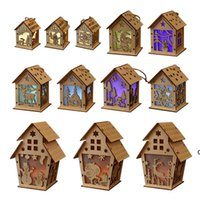 Рождественские светодиодные светлые деревянные дома светящиеся каюта с рождественским днем украшения домашней вечеринки украшения DIY дети подарок счастливые FWF10707