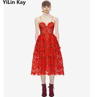 Casual Dresses YiLin Kay High-end Custom Self Portrait 2021 Women Lace Dress Hollow Out Hook Flower Condole Belt Longdress
