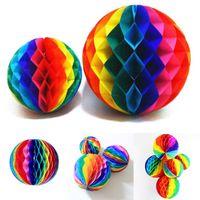 Rainbow Honeycomb Tissue Paper Pom Poms Lantern Balls Wedding Birthday Festival Party Stage Decor Decorative Flowers & Wreaths