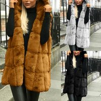 Female Vest Womens Winter Warm Thicken Elegant Faux Fur Gilet Sleeveless Waistcoat Body Warmer Jacket Coat Outwear Women's Vests