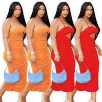 Women midi casual dresses summer clothes sexy club elegant split halter sleeveless backless pleated hollow out solid color sheath column evening party wear 01693